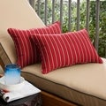 Red/Gold Stripe Corded 12 x 24 inch Indoor/ Outdoor Lumbar Pillows with Sunbrella Fabric (Set of 2)