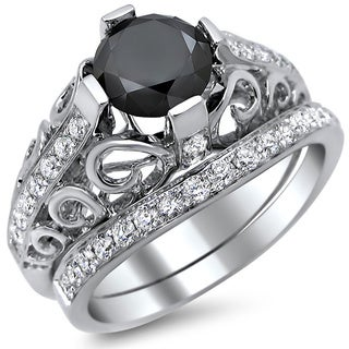 Noori 14k White Gold 2ct Certified Black Diamond Round-cut Engagement Ring Bridal Set (E-F, VS1-VS2)