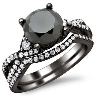 Noori 18k Black Gold 2 4/5ct TDW Certified Black/ White Round Diamond Bridal Set (E-F, VS1-VS2)