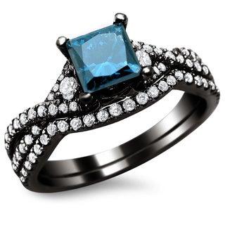 18k Black Gold 1 1/2ct Certified Blue Diamond Princess-cut Bridal Set (F-G, VS1-VS2)