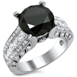Noori 18k White Gold 4 2/5ct TDW Certified Black Diamond Round-cut Center Engagement Ring (E, VS1-VS2)