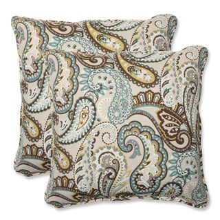 Pillow Perfect 'Tamara Paisley Quartz' 18.5-inch Square Outdoor Throw Pillow (Set of 2)
