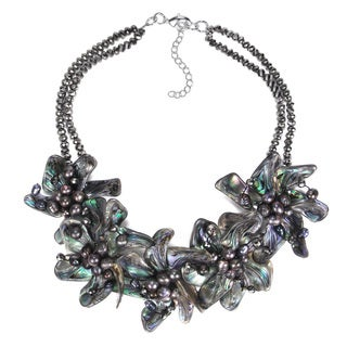 Alluring Floral Dancer Abalone Shell Statement Necklace (Thailand)