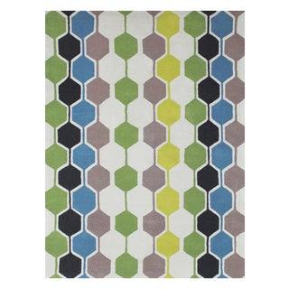 Handmade Alliyah Beige Geometric New Zeeland Blend Wool Rug (8' x 10')