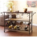 Upton Home Tuscany Espresso/ Black Wine/ Bar Cart Serving Table