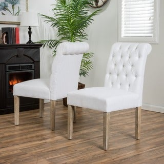Christopher Knight Home Dinah Tufted White Fabric Dining Chair with Roll Top (Set of 2)