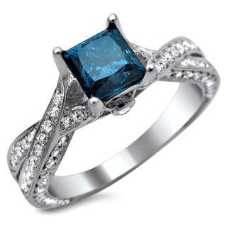 Noori 14k White Gold 1 7/8ct TDW Certified Princess-cut Blue and Round White Diamond Engagement Ring (G-H,