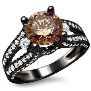 Noori 18k Black Gold 2 2/5ct Certified Brown and White Round-cut Diamond Split Shank Ring (E-F, VS1-VS2)