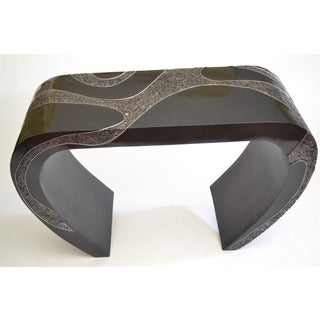 Exotic Black Crushed Silver Shell Console Table