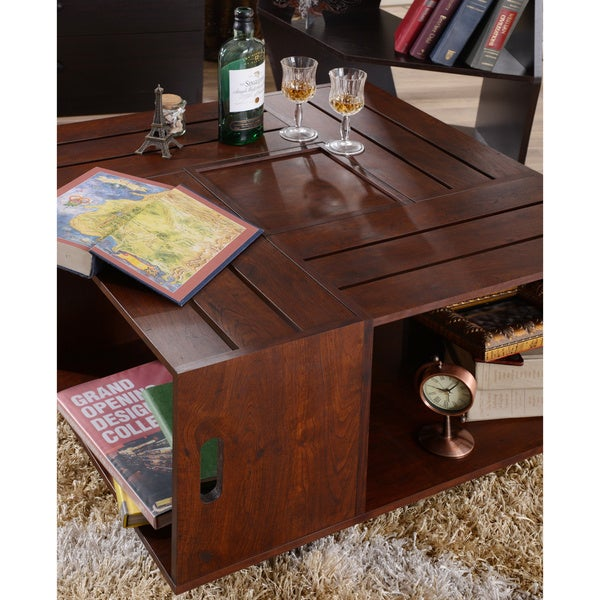 Wine Crate Coffee Table Contemporary Classic Chic Storage