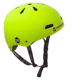 Punisher Skateboards Youth 13-vent Bright Neon Yellow Dual Safety Certified BMX Bike and Skateboard Helmet, Size Medium