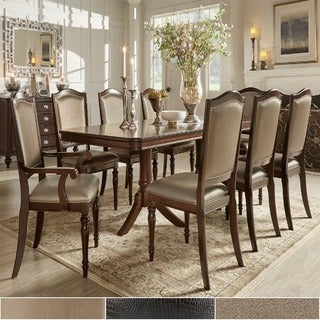 TRIBECCA HOME LaSalle Espresso Nail Head Accent Transitional Dining Side Chairs (Set of 2)