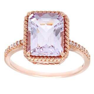 10k Rose Gold Rose de France and Diamond Accent Ring