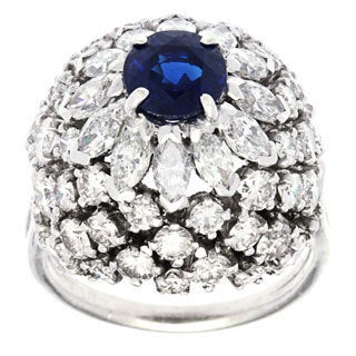 Pre-owned Platinum 4ct TDW Sapphire Dome Estate Ring (H-I, SI1-SI2)
