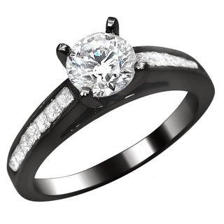Noori 14k Black Gold 1ct Round Princess Cut Diamond Engagement Ring (G-H, SI1-SI2)