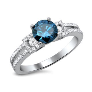 Noori 18k White Gold 1 1/6ct TDW Certified Blue and White Round Diamond Engagement Ring (F-G, SI1-SI2)