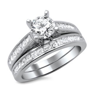 Noori 14k White Gold 1 1/2ct Round Princess Cut Diamond Engagement Ring Set (G-H, SI1-SI2)