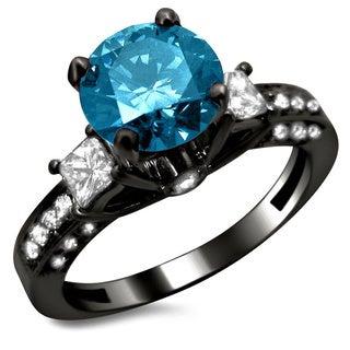 Noori 14k Black Gold 1 7/10ct Certified 3-stone Blue and White Round Princess Cut Diamond Engagement Ring