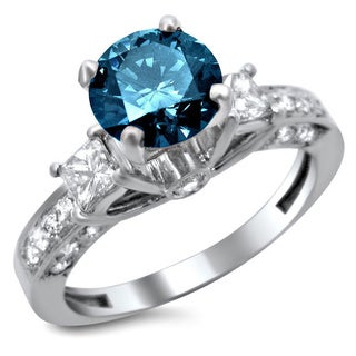 Noori 14k Gold 1 1/2ct Certified 3-stone Blue and White Round Princess Cut Diamond Engagement Ring (F-G, S