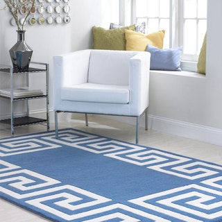 nuLOOM Hand-tufted Greek Key Border Blue Wool Rug (8'6 x 11'6)