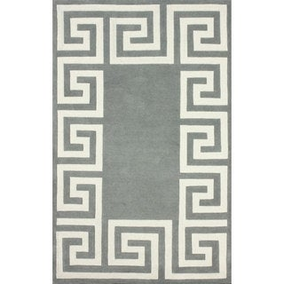 nuLOOM Hand-tufted Greek Key Border Grey Wool Rug (8'6 x 11'6)