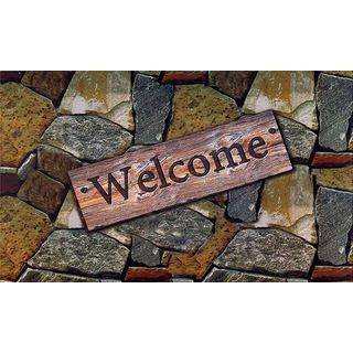 Quarry Stones 'Welcome' Outdoor Rubber Entrance Mat (18x30-inch)