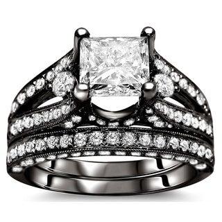 18k Black Gold 3 1/10ct Princess Diamond Bridal Set (G-H, SI1-SI2)
