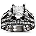 Noori 18k Black Gold 3 1/10ct Princess Diamond Bridal Set (G-H, SI1-SI2)