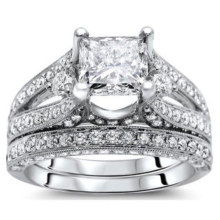 Noori 18k White Gold 3 1/10ct Princess Diamond Bridal Set (G-H, SI1-SI2)
