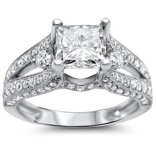 Noori 18k White Gold 2 1/3ct TDW Certified Enhanced Princess Diamond Engagement Ring (G-H, SI1-SI2)