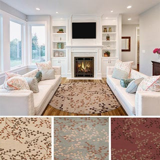 Hand-tufted Amador Contemporary Floral Wool Area Rug (8' Round)