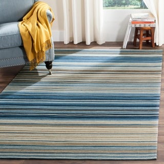Safavieh Hand-woven Marbella Cream/ Blue/ Black Wool Rug (8' x 10')
