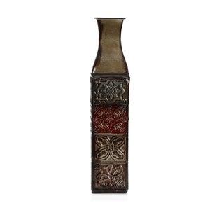 Elements 17-inch 4-color Tile Embossed Iron Decorative Vase