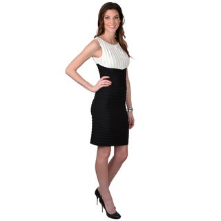 Calvin Klein Women's Pleated Sleeveless Color Blocked Dress