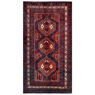 Afghan Hand-knotted Tribal Balouchi Rust/ Navy Wool Rug (4'9 x 8'9)