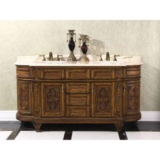 Natural Stone Top 71-inch Double Sink Vintage Style Bathroom Vanity