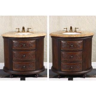 36-inch Single Sink Vintage Style Natural Stone Top Bathroom Vanity