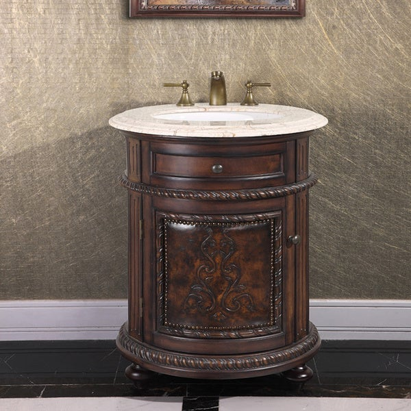 Natural Stone Top 24 Inch Single Sink Vintage Style Round Bathroom Vanity In