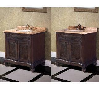 36-inch Single Sink Natural Stone Top Vintage Style Bathroom Vanity