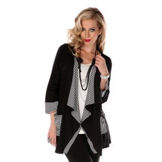 Women's Black and White Striped Open Cardigan
