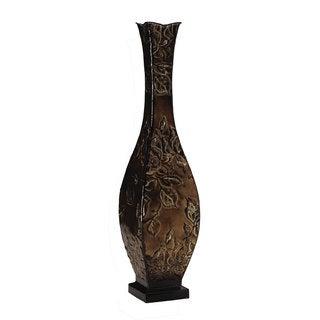 Elements 24-inch Gold Embossed Metal Decorative Floral Vase