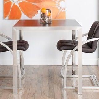 Skyler Square Espresso Wood Top Brushed Metal Pub Table