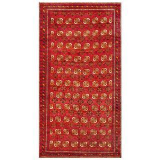 Afghan Hand-knotted Tribal Balouchi Rust/ Ivory Wool Rug (6'3 x 12'1)