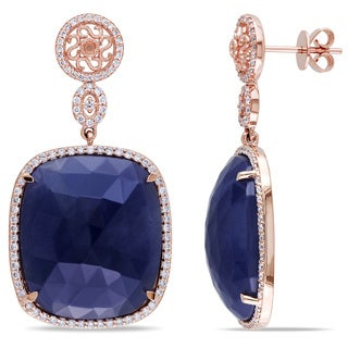 Miadora Signature Collection 14k Rose Gold 43 1/2ct Sapphire and 4/5ct TDW Diamond Earrings (G-H, SI1-SI2)