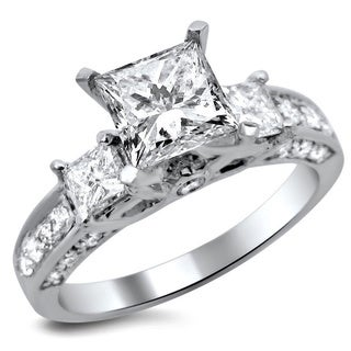 Noori 14k White Gold 1 7/8ct TDW Certified Enhanced Princess Cut Diamond Engagement Ring