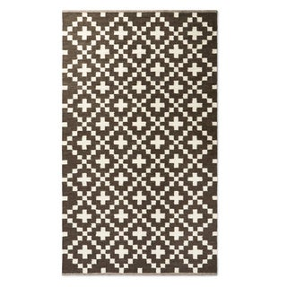 Handwoven Cross Wool Rug (India)