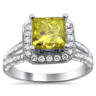 Noori 18k White Gold 2.20ct TDW Certified Yellow and White Diamond Princess Cut Ring