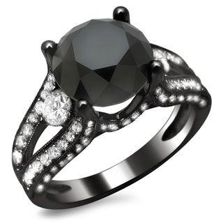 Noori 18k Black Gold 4 1/3ct TDW Certified Black and White Round Diamond Ring