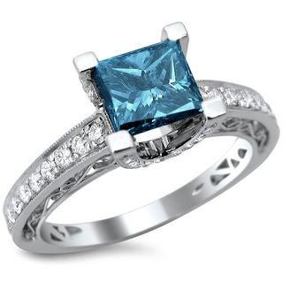 Noori 18k White Gold 1.85ct TDW Certified Blue and White Diamond Princess Cut Ring