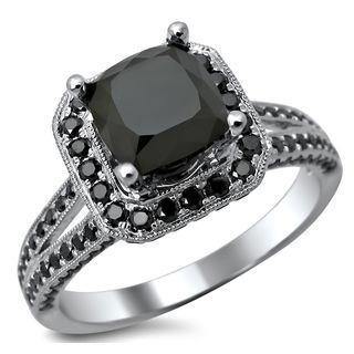 Noori 14k White Gold 2.80ct TDW Certified Black Cushion Cut Diamond Ring